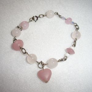 Jewelry - Rose Quartz Heart Charm Silver Bracelet